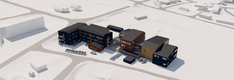 Illustrasjonen viser eksisterende bygg til venstre og nybygget til høyre